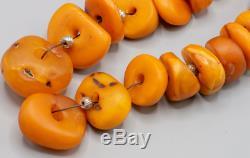 100%Natural Amber Butterscotch Chinese Antique Tibetan Necklace Beads Mala 164gr