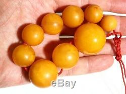 100 % Natural Bracelet Butterscotch Amber Beads 1940-50 Vintage 44 gr Big