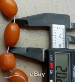 100 % Natural Necklace Butterscotch Amber Beads 1880-1900 Antique 115 gr