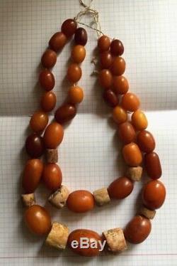 100 % Natural Necklace Butterscotch Amber Beads 1880-1900 Antique 126 gr