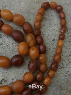 100 % Natural Necklace Butterscotch Amber Beads 1880-1900 Antique 81 gr