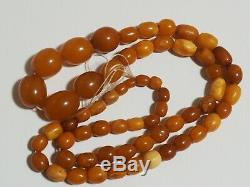 100 % Natural Necklace Butterscotch Amber Beads 1940-50 Vintage 34 gr Old