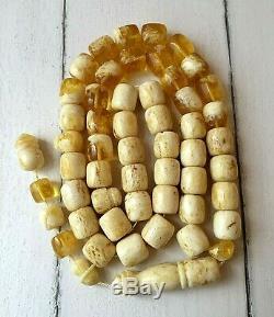 108,9gr Natural Baltic Amber Landscape Islamic Prayer Rosary Beads Tesbih Misbah