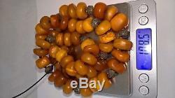 108 grams RARE Tibetan Antique Baltic Amber Necklace Butterscotch Egg Yolk