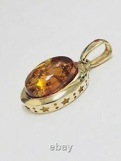 10k Solid Yellow Gold 16 mm Oval Baltic Amber Pendant 1.25