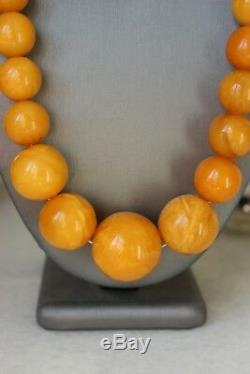114gr Large Baltic Amber Necklace Egg Yolk Butterscotch Round Beads Natural
