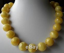 139.5g Baltic Natural Amber Round Bead Necklace & Bracelet Egg Yolk Butterscotch