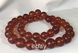 140 grams Vintage Natural Baltic Amber Necklace Honey Cognac Huge Round Beads