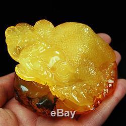 147.3g 100% Natural Baltic Butterscotch Amber Carving Jin Chan CRD1