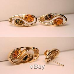 14K Gold NATURAL Baltic Green Orange AMBER Set Pendant Charm Earrings ESTATE Lot