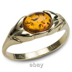 14k Pure Solid Pure Yellow Gold Honey Baltic Amber Floral Design Oval Nice Ring