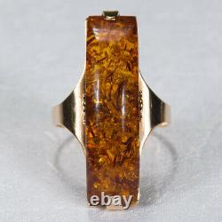 14k Rose Gold Solitaire Natural Russian Baltic Amber Ring