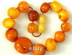 15 Antique Amber Beads Strand 12.6 Grs Butterschotch Egg Yolk Amber Beads