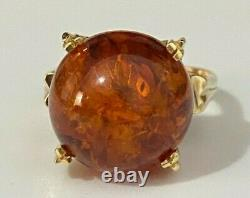 18K solid gold & Baltic Amber ring 5.50g size K 5 1/8