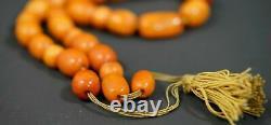 19c. Antique Natural Butterscotch Egg Yolk Baltic Amber Worry Prayer Beads 30gr