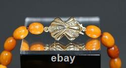 19c. Natural Butterscotch Egg Yolk Baltic Amber Beads Necklace Big Center 33gr