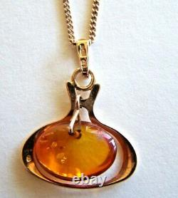 2-piece 14K Yellow Gold Necklace & 14K Yellow Gold Baltic Amber Pendant 6.05 gr