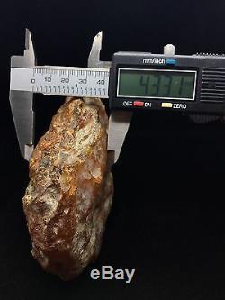 223g Natural Baltic Amber Stone Mat and Transparent Yellow Clouds Bernstein