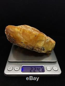 224g Natural Baltic Amber Stone Mat Yellow Half Transparent Colour Bernstein