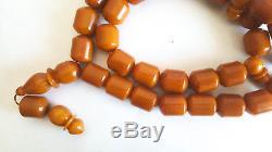 265g Antique natural baltic amber eggyolk rosary prayer ambar