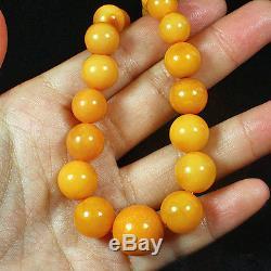 28g 100%Natural Antique Baltic Butterscotch Amber Round Bead Necklace CRLz31R