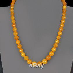 29.9g 100%Natural Antique Baltic Butterscotch Amber Round Bead Necklace CRLz29