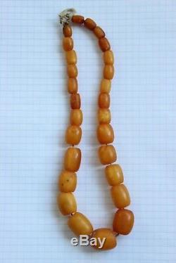 29gr Natural Baltic Amber Necklace Egg Yolk Butterscotch Barrel Shape Beads