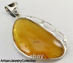 3.4 Large NATURAL BALTIC AMBER PENDANT 925 STERLING SILVER ARTISAN JEWELRY S051