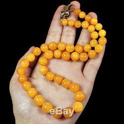 30.1g 100%Natural Antique Baltic Butterscotch Amber Round Bead Necklace CRLz37
