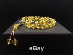 30g Natural Baltic Amber Rosary Tesbih Kehribar Lemon Round Beads