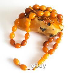 31g Antique natural baltic amber eggyolk rosary prayer ambar