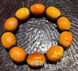 36.73 Grams Old Antique Natural Baltic Amber Butterscotch Egg Yolk Bead bracelet