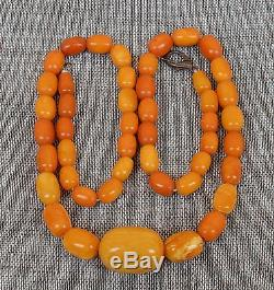 37,8 gr Genuine natural baltic amber round beads necklace egg yolk butterscotch