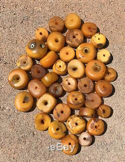 38 Antique Old Butterscotch Baltic Amber Necklace Barrel Beads Loose 82.5 Grams