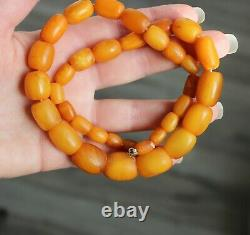38gr Natural Baltic Amber Necklace Egg Yolk Butterscotch Barrel Shape Beads