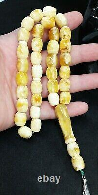39.09gr. White Natural Baltic Amber ISLAMIC 33 PRAYER BEADS ROSARY Butterschotch