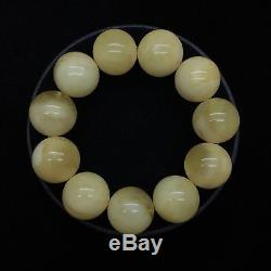39,5g Natural New Baltic Amber Beeswax Bracelet Yellow Round Beads Hupo-se