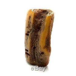 406,5g Natural Baltic Amber Stone Mat Yellow White Beeswax Colour Bernstein