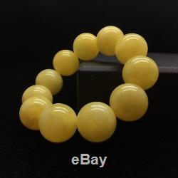 41g Natural Baltic Amber Bracelet Yellow Beeswax Colour Round Beads Hupo-se