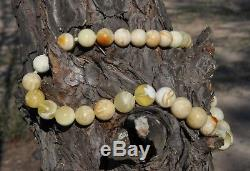 43.44gr Large Real Old Eggyolk White Natural Baltic Amber Necklace Round Beads