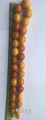 49.12 grams Antique Natural Baltic Amber Butterscotch Egg Yolk Bead Necklace