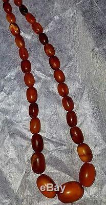 49.19 Gram Old Antique Natural Baltic Amber Butterscotch Egg Yolk Bead Necklace