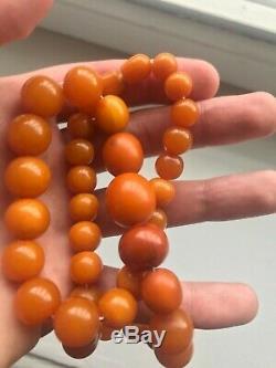 52,9gr Antique Amber Baltic Egg Yolk Old Beads Natural Necklace