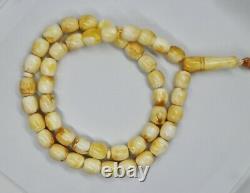 53.35 White Natural Baltic Amber ISLAMIC 45 PRAYER 12X9mm ROSARY Butterschotch