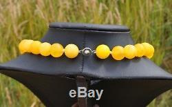 54.88gr Large Real Old Eggyolk Honey Natural Baltic Amber Necklace Beads