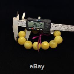 55,1g Natural Baltic Amber Bracelet Yellow Beeswax Round Beads Hupo Kahraman