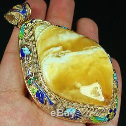 57.65g 100% Natural Antique Baltic Butterscotch Amber 925 Silver Pendant CML1