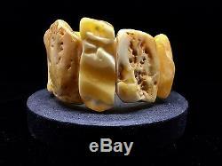 61,1g Natural Baltic Amber Bracelet White Yellow Colour Raw Round Hupo-se