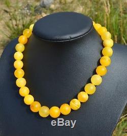 62+g Huge Antique Baltic Amber Necklace Egg Yolk Beads Beautiful Vintage Genuine