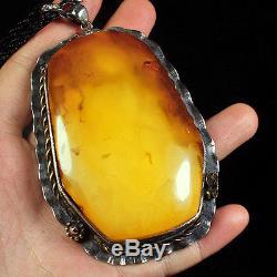 65g 100% Natural 925 Silver Baltic Butterscotch Amber Antique Pendant CRP1